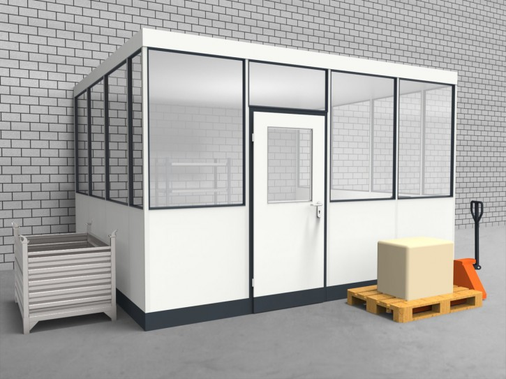 Hallenbüro 3-seitig 4,00 x 3,50 m 14 m² (HB3-4035)