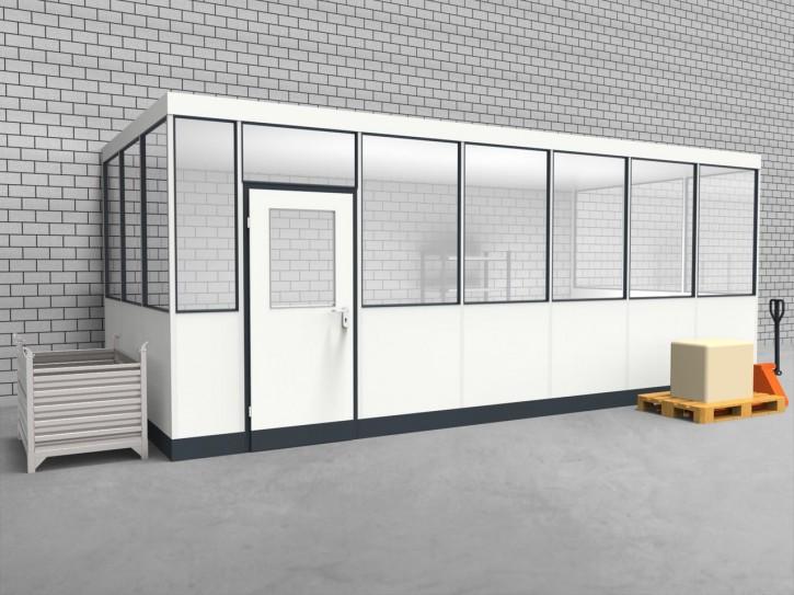 Hallenbüro 3-seitig 6,50 x 3,00 m 19,5 m² (HB3-6530)