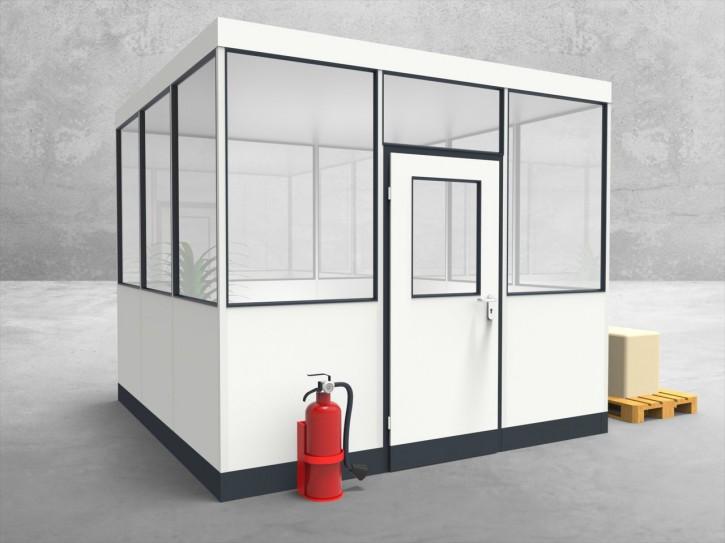 Hallenbüro 4-seitig 3,00 x 3,00 m 9 m² (HB4-3030)
