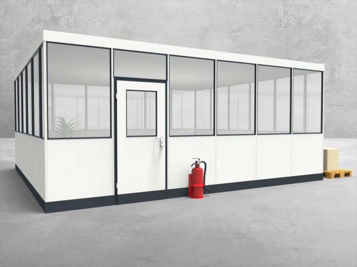Hallenbüro 4-seitig 6,00 x 5,50 m 33 m² (HB4-6055)