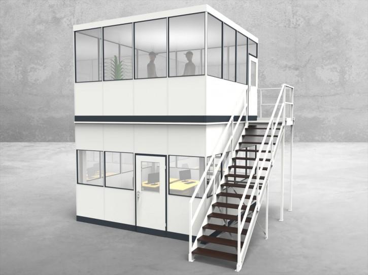 Hallenbüro als Doppelstock 4-seitig 4,00 x 4,00 m 16 m² (HD4-4040)