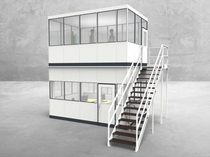 Hallenbüro als Doppelstock 4-seitig 4,50 x 3,00 m 13,5 m² (HD4-4530)