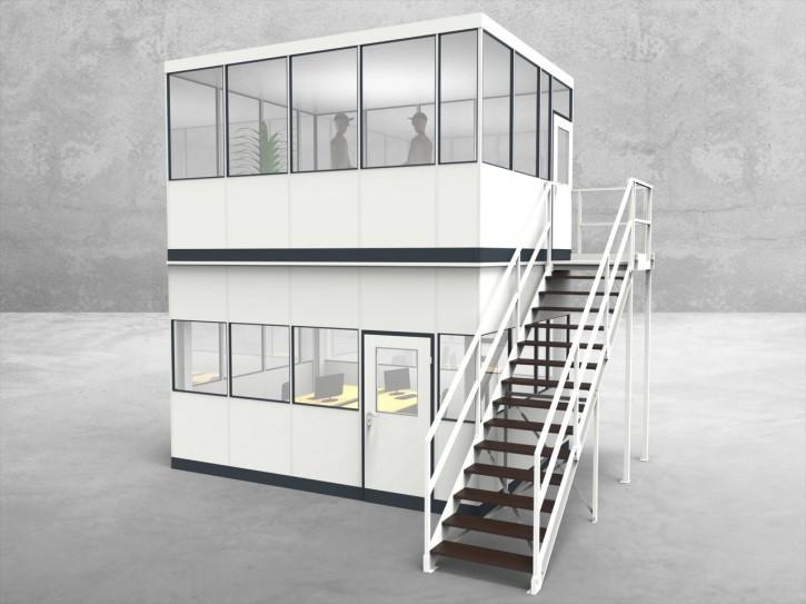 Hallenbüro als Doppelstock 4-seitig 4,50 x 3,50 m 15,75 m² (HD4-4535)
