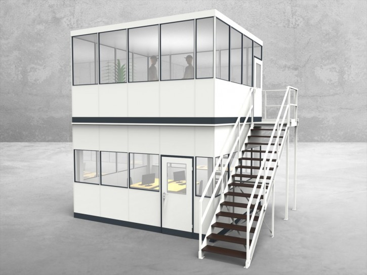 Hallenbüro als Doppelstock 4-seitig 4,50 x 4,00 m 18 m² (HD4-4540)