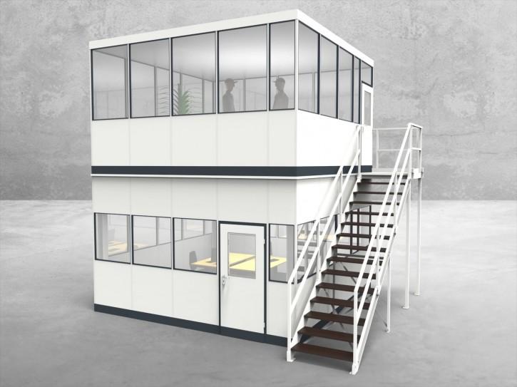 Hallenbüro als Doppelstock 4-seitig 4,50 x 4,50 m 20,25 m² (HD4-4545)