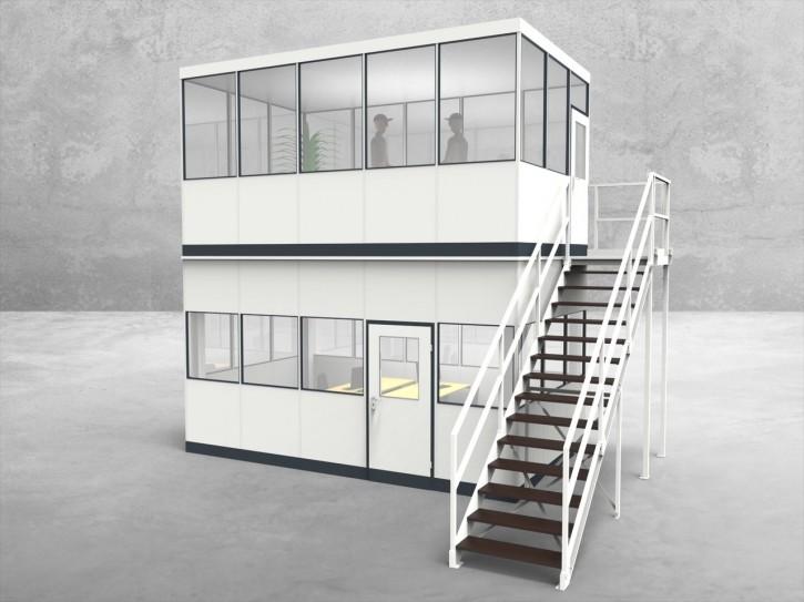 Hallenbüro als Doppelstock 4-seitig 5,00 x 3,00 m 15 m² (HD4-5030)