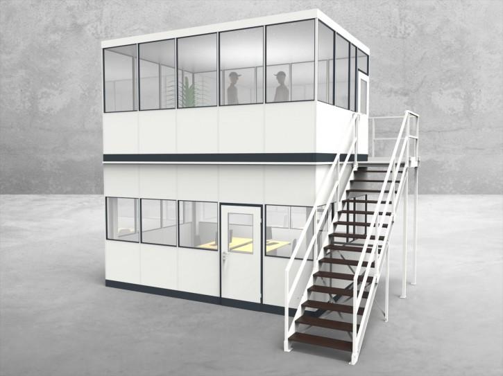 Hallenbüro als Doppelstock 4-seitig 5,00 x 3,50 m 17,5 m² (HD4-5035)
