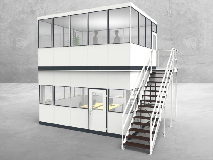 Hallenbüro als Doppelstock 4-seitig 5,00 x 4,00 m 20 m² (HD4-5040)