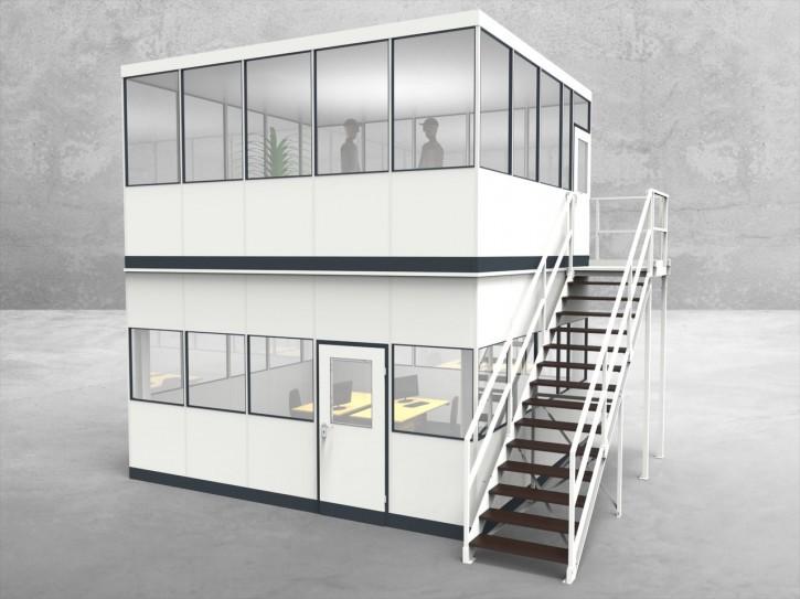Hallenbüro als Doppelstock 4-seitig 5,00 x 4,50 m 22,5 m² (HD4-5045)