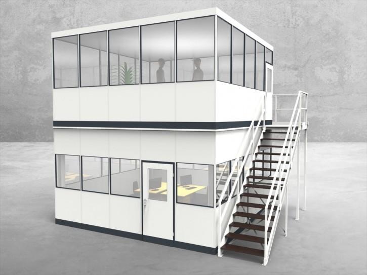 Hallenbüro als Doppelstock 4-seitig 5,00 x 5,00 m 25 m² (HD4-5050)