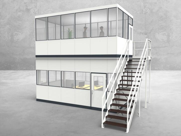 Hallenbüro als Doppelstock 4-seitig 5,50 x 3,00 m 16,5 m² (HD4-5530)
