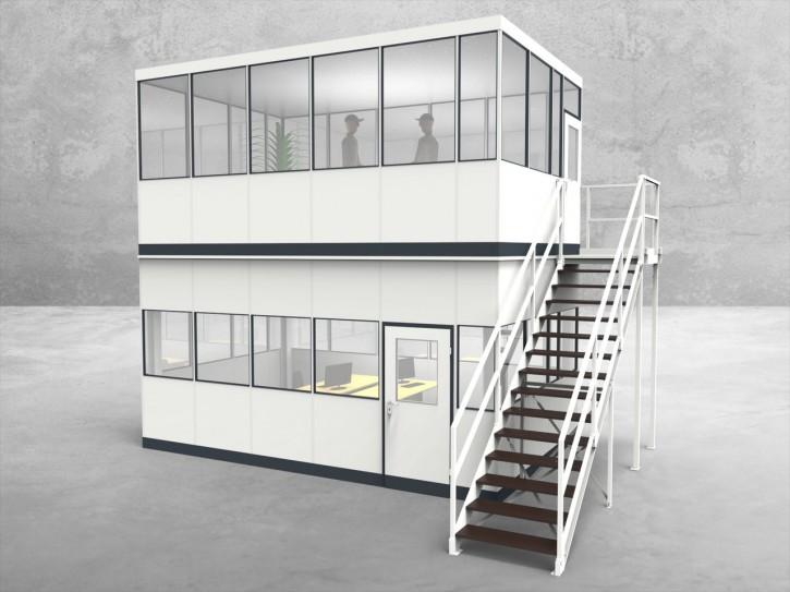Hallenbüro als Doppelstock 4-seitig 5,50 x 3,50 m 19,25 m² (HD4-5535)