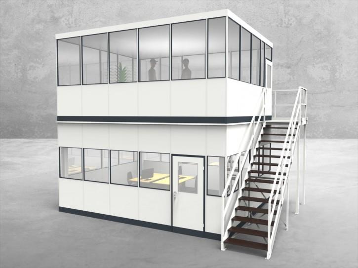 Hallenbüro als Doppelstock 4-seitig 5,50 x 4,50 m 24,75 m² (HD4-5545)
