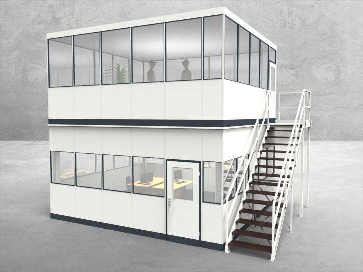 Hallenbüro als Doppelstock 4-seitig 5,50 x 5,00 m 27,5 m² (HD4-5550)