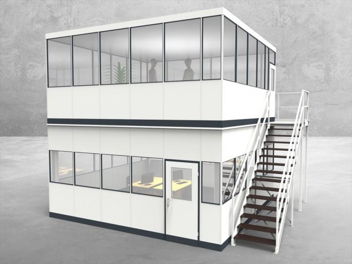 Hallenbüro als Doppelstock 4-seitig 5,50 x 5,50 m 30,25 m² (HD4-5555)
