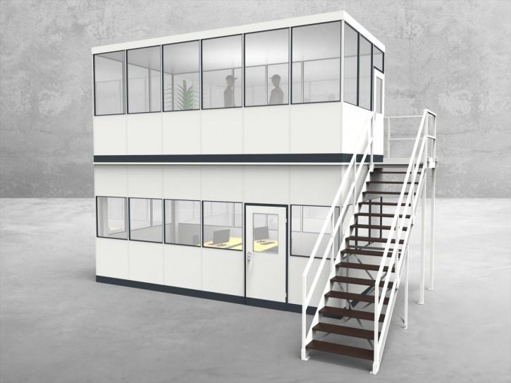 Hallenbüro als Doppelstock 4-seitig 6,00 x 3,00 m 18 m² (HD4-6030)
