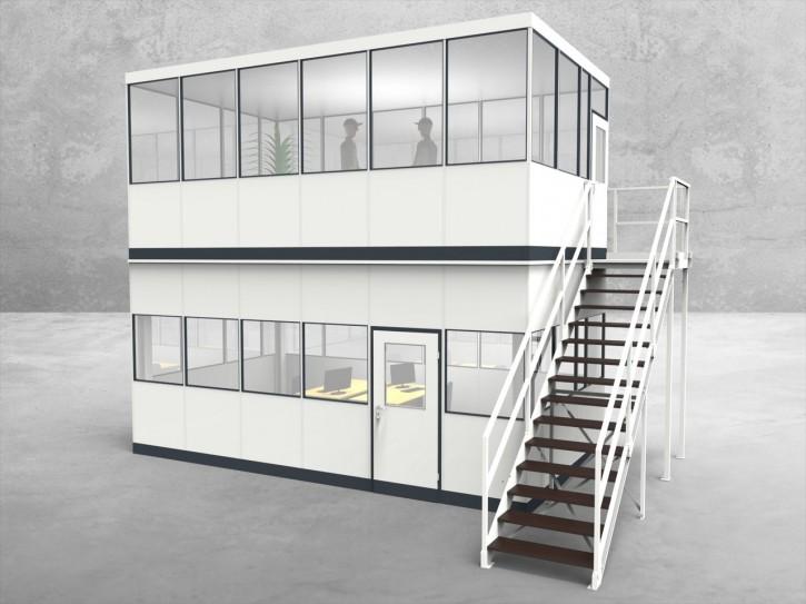 Hallenbüro als Doppelstock 4-seitig 6,00 x 3,50 m 21 m² (HD4-6035)