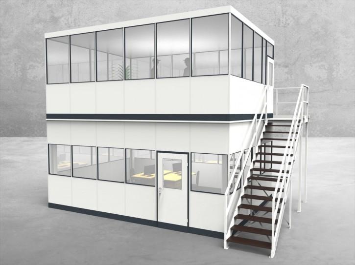 Hallenbüro als Doppelstock 4-seitig 6,00 x 4,50 m 27 m² (HD4-6045)