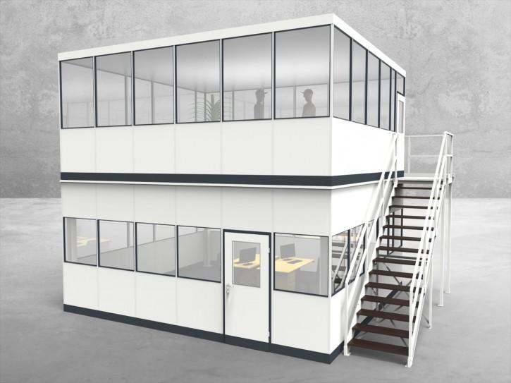Hallenbüro als Doppelstock 4-seitig 6,00 x 5,50 m 33 m² (HD4-6055)