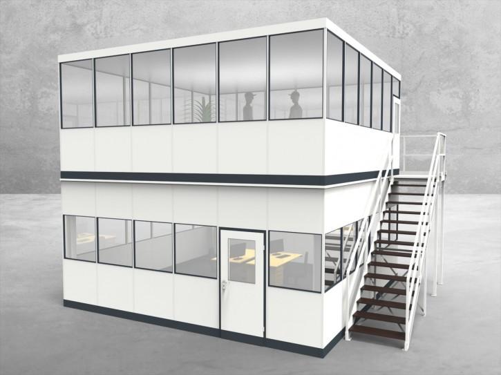 Hallenbüro als Doppelstock 4-seitig 6,00 x 6,00 m 36 m² (HD4-6060)