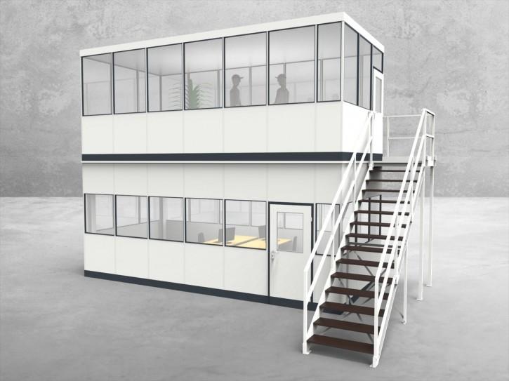 Hallenbüro als Doppelstock 4-seitig 6,50 x 3,00 m 19,5 m² (HD4-6530)