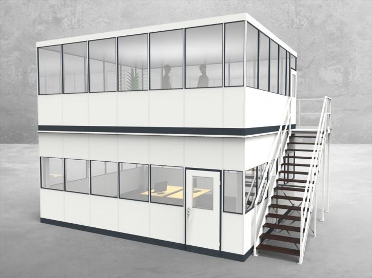 Hallenbüro als Doppelstock 4-seitig 6,50 x 5,50 m 35,75 m² (HD4-6555)
