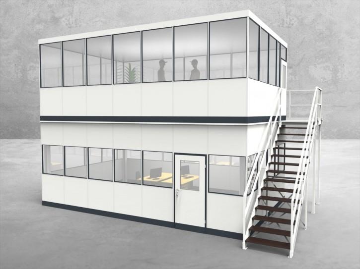 Hallenbüro als Doppelstock 4-seitig 7,00 x 4,50 m 31,5 m² (HD4-7045)