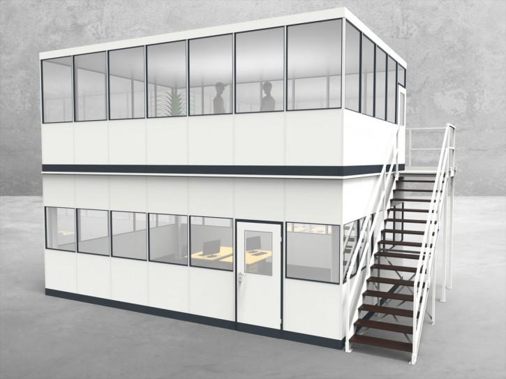 Hallenbüro als Doppelstock 4-seitig 7,00 x 5,00 m 35 m² (HD4-7050)