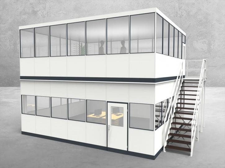 Hallenbüro als Doppelstock 4-seitig 7,00 x 6,00 m 42 m² (HD4-7060)
