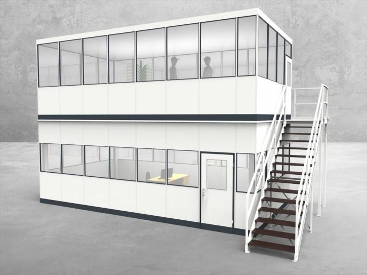 Hallenbüro als Doppelstock 4-seitig 7,50 x 4,00 m 30 m² (HD4-7540)