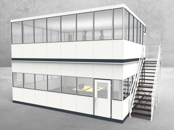 Hallenbüro als Doppelstock 4-seitig 7,50 x 6,00 m 45 m² (HD4-7560)
