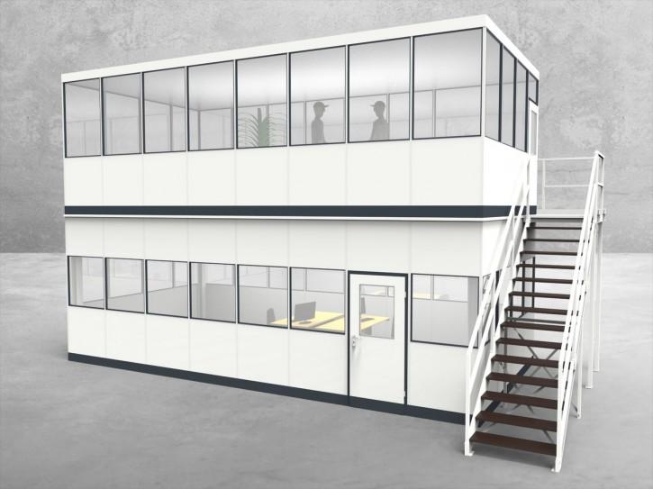 Hallenbüro als Doppelstock 4-seitig 8,00 x 4,00 m 32 m² (HD4-8040)