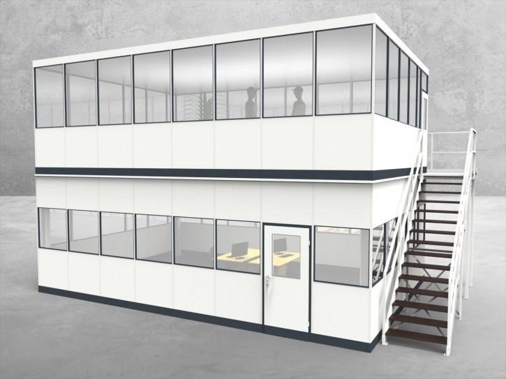 Hallenbüro als Doppelstock 4-seitig 8,00 x 5,50 m 44 m² (HD4-8055)
