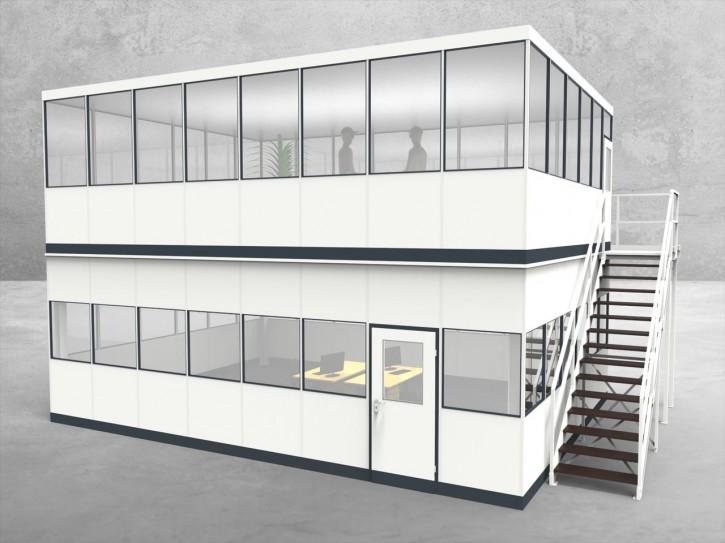 Hallenbüro als Doppelstock 4-seitig 8,00 x 6,00 m 48 m² (HD4-8060)