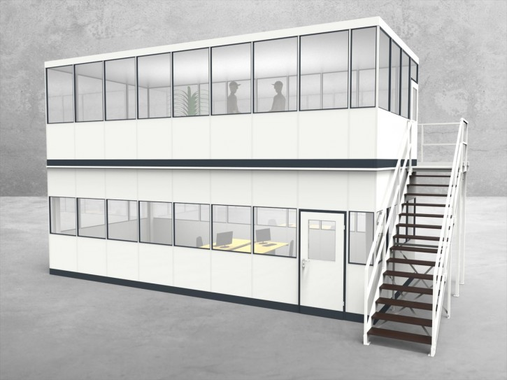 Hallenbüro als Doppelstock 4-seitig 8,50 x 4,00 m 34 m² (HD4-8540)