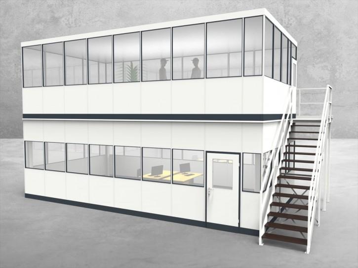 Hallenbüro als Doppelstock 4-seitig 8,50 x 4,50 m 38,25 m² (HD4-8545)