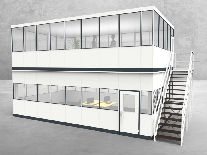Hallenbüro als Doppelstock 4-seitig 8,50 x 5,00 m 42,5 m² (HD4-8550)