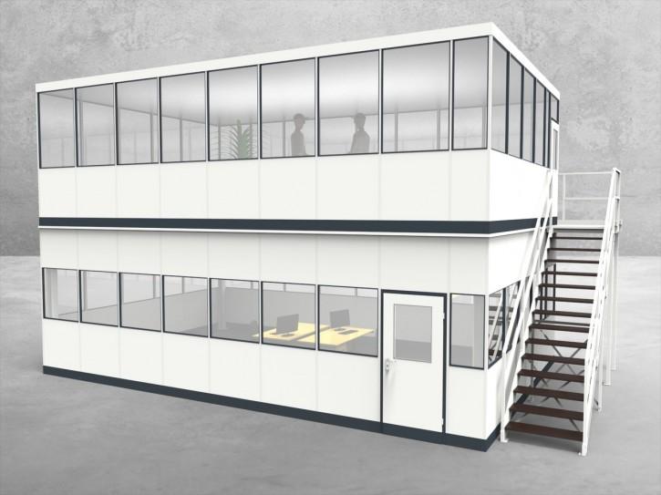 Hallenbüro als Doppelstock 4-seitig 8,50 x 5,50 m 46,75 m² (HD4-8555)
