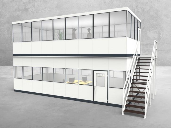Hallenbüro als Doppelstock 4-seitig 9,00 x 4,00 m 36 m² (HD4-9040)