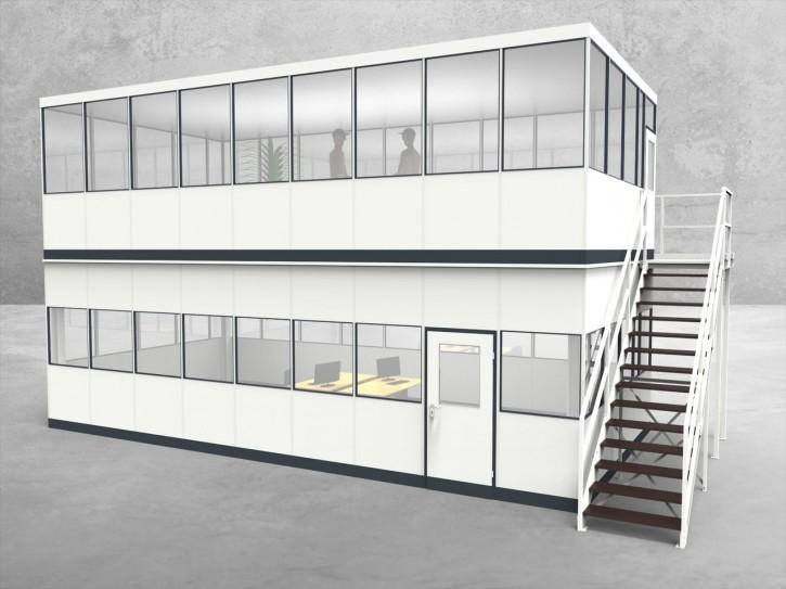 Hallenbüro als Doppelstock 4-seitig 9,00 x 4,50 m 40,5 m² (HD4-9045)