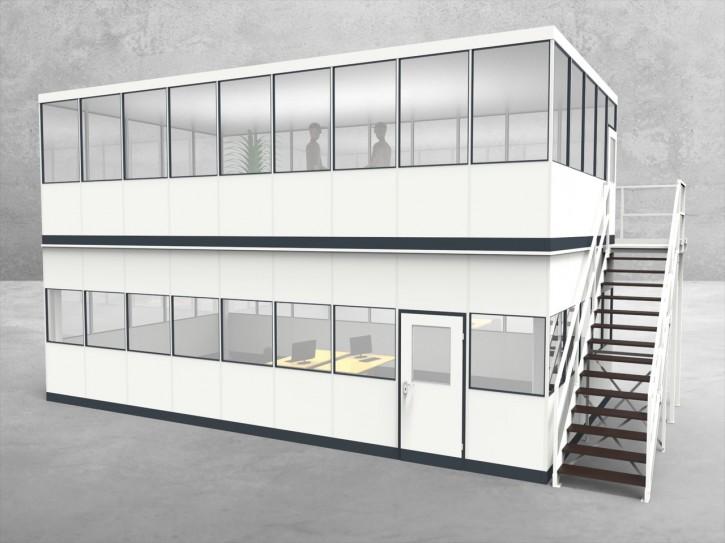 Hallenbüro als Doppelstock 4-seitig 9,00 x 5,00 m 45 m² (HD4-9050)