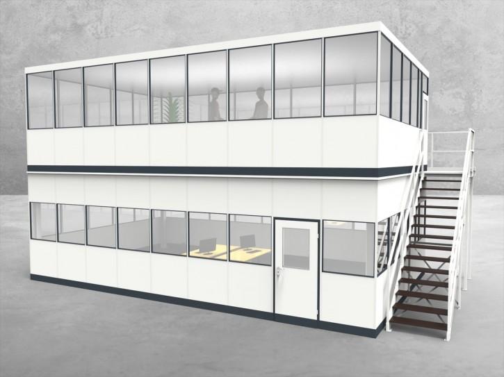 Hallenbüro als Doppelstock 4-seitig 9,00 x 5,50 m 49,5 m² (HD4-9055)