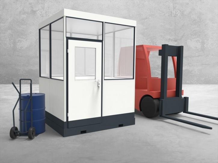 Mobiles Hallenbüro 4-seitig 2,00 x 2,00 m 4 m² (HM4-2020)