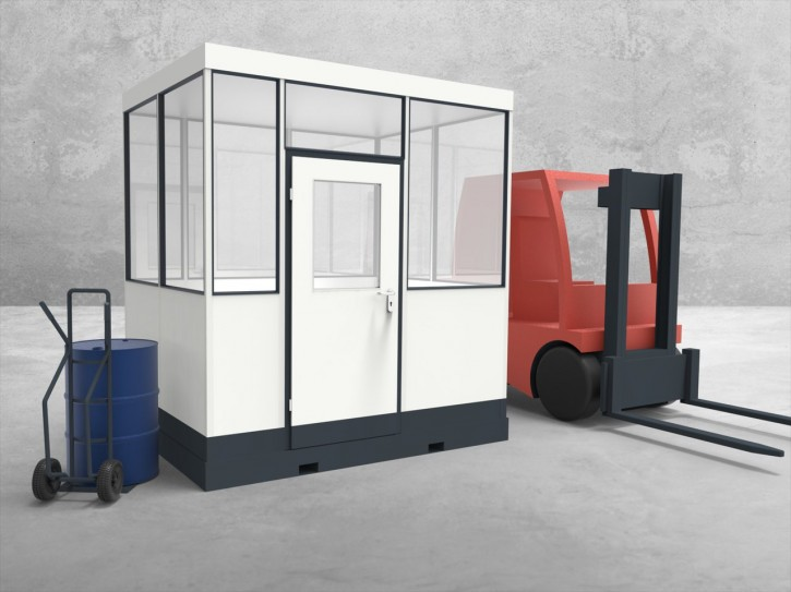 Mobiles Hallenbüro 4-seitig 2,50 x 2,00 m 5 m² (HM4-2520)