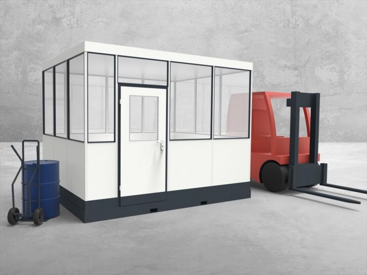 Mobiles Hallenbüro 4-seitig 3,50 x 3,00 m 10,5 m² (HM4-3530)