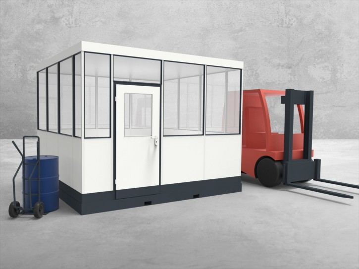 Mobiles Hallenbüro 4-seitig 3,50 x 3,50 m 12,25 m² (HM4-3535)