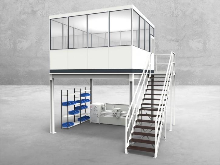 Hallenbüro auf Stahlbau 4-seitig 4,00 x 4,00 m 16 m² (HS4-4040)