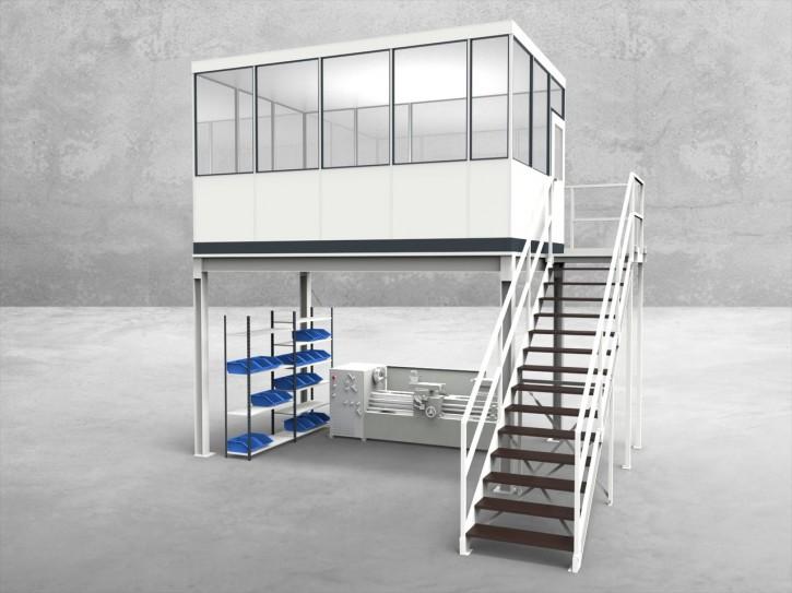 Hallenbüro auf Stahlbau 4-seitig 4,50 x 3,00 m 13,5 m² (HS4-4530)