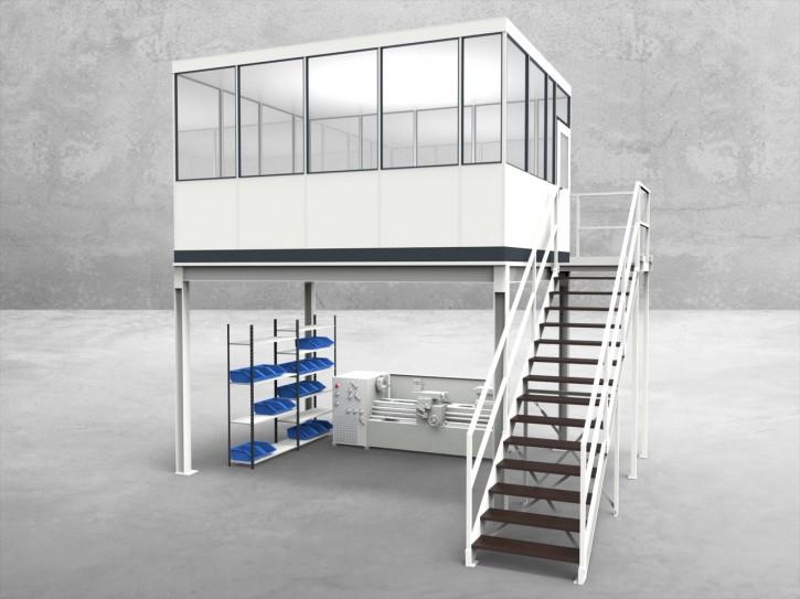 Hallenbüro auf Stahlbau 4-seitig 4,50 x 3,50 m 15,75 m² (HS4-4535)