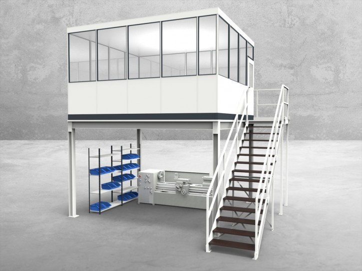 Hallenbüro auf Stahlbau 4-seitig 4,50 x 4,00 m 18 m² (HS4-4540)